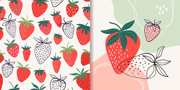 Strawberry collection with seamless pattern and abstract composition, doodle shapes, trendy design