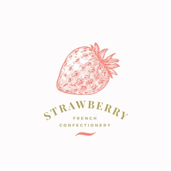Strawberry confectionary abstract  sign, symbol or logo template.