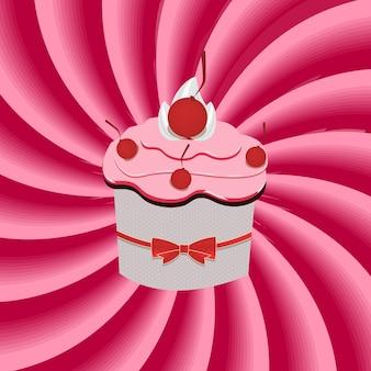 イチゴクリームカップケーキと催眠術の背景を抽象化します。