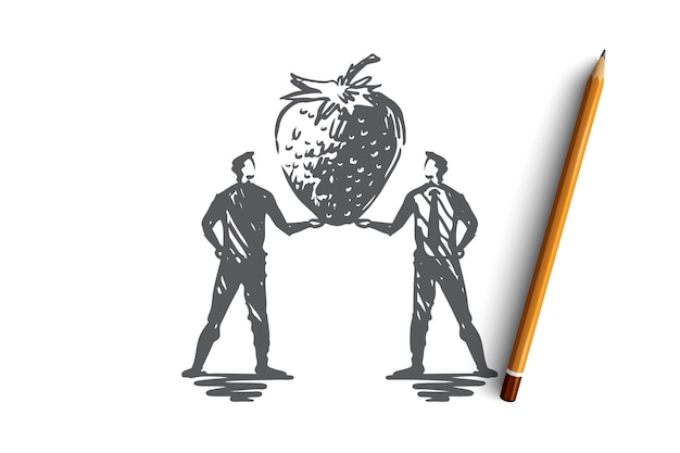 イチゴ、栽培、農業、果物、食品の概念。手描きの有機イチゴのコンセプトスケッチ。図。