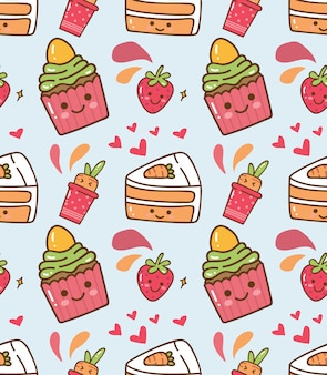 Strawberry cupcake kawaii pattern