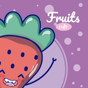 Strawberry cute fruit cartoons