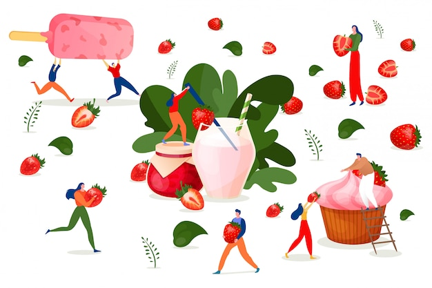 Strawberry dessert, fruit cuisine,  illustration.people cartoon character with sweet food, berry fresh culinary. man woman
