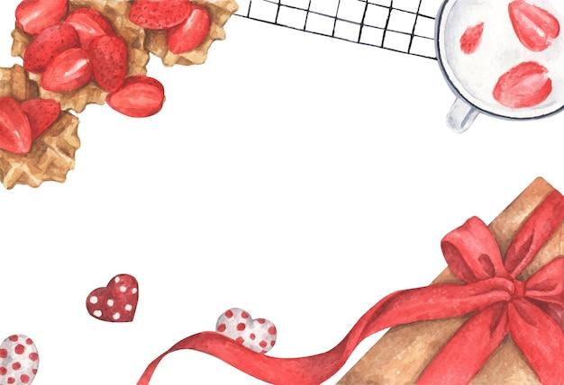 선물 상자와 초콜릿 하트 딸기 디저트