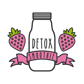 Strawberry detox icon. smoothie and juice design. vector graphic