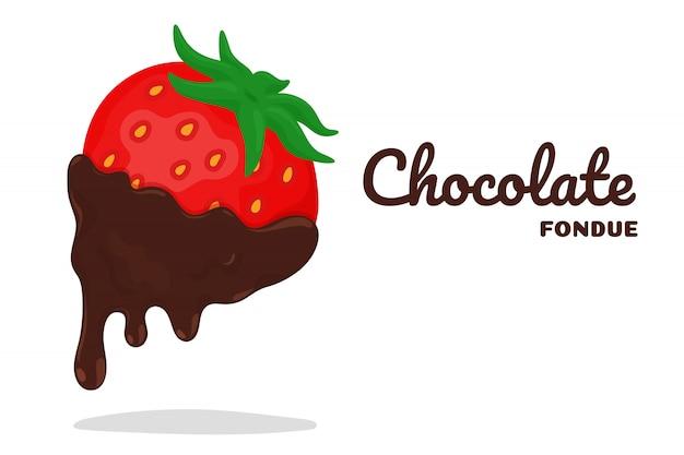 초콜릿 퐁듀에 딸기 딥.