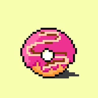 Strawberry donut with pixel art style