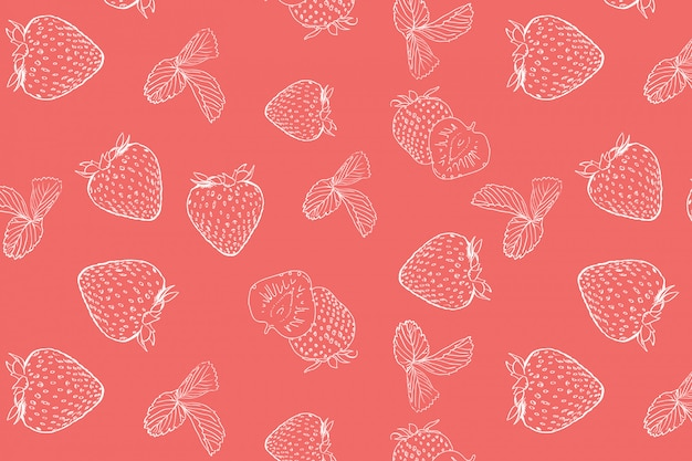 Strawberry doodle seamless pattern