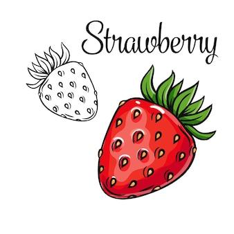 Значок рисования клубники рисованной красная ягода в стиле ретро