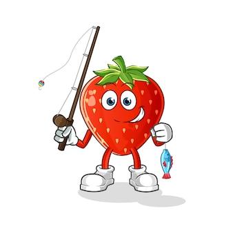 Strawberry fisherman illustration
