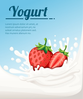 Strawberry flavored yogurt. milk splashing and strawberry berries. yogurt ads in  .  illustration on light blue background. place for your text.