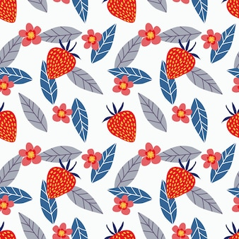 Strawberry and flower seamless pattern.