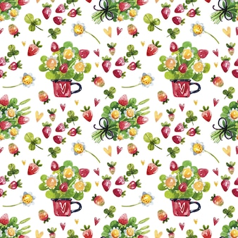 Strawberry flowers and berries seamless pattern