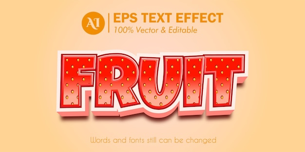 Strawberry  fruit 3d editable text effect
