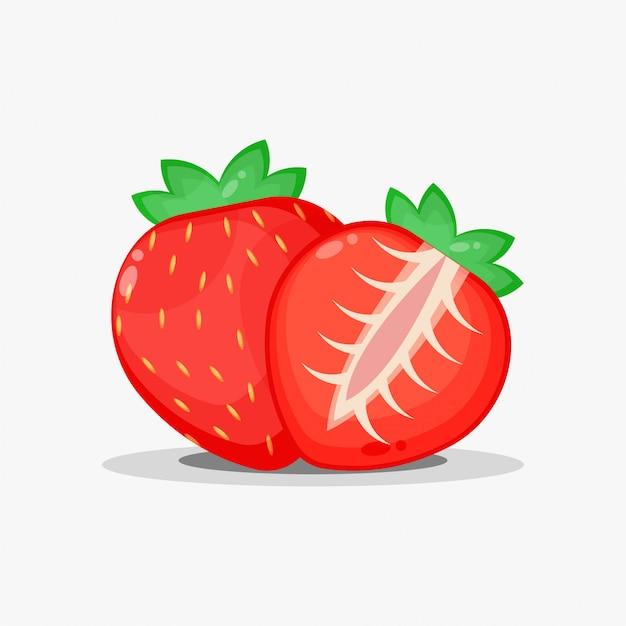 Клубника с фруктами и кусочками клубники