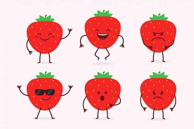 Strawberry fruit character set