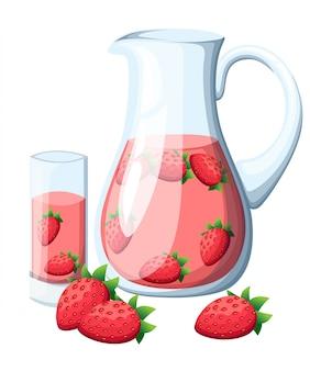 ガラスピッチャーでイチゴ果実の飲み物。葉全体とイチゴ。装飾的なポスター、エンブレム天然物、ファーマーズマーケット。白い背景の上。
