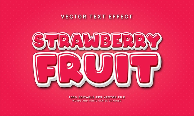 Strawberry fruit editable text effect with fresh fruit theme