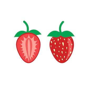 평면 그림에 딸기 과일