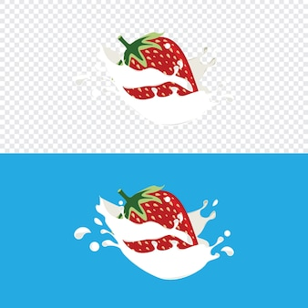 Strawberry fruit splashed into fresh dairy milk