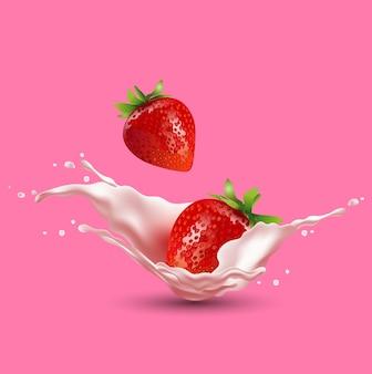 Strawberry fruit and splashes of milk