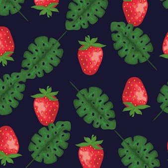 イチゴの果実と葉