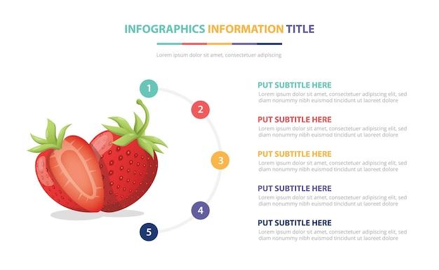 Шаблон инфографики плоды клубники с номером описания иллюстрации