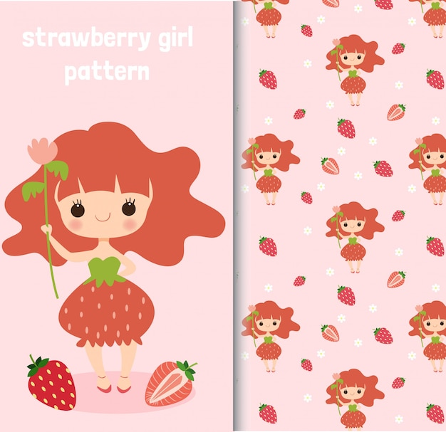 Strawberry girl character and seamless pattern