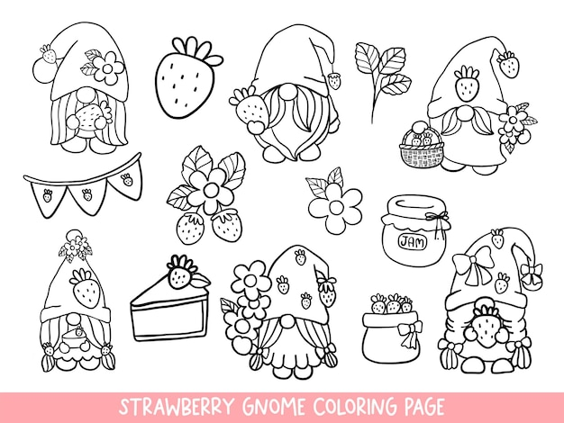 Strawberry gnomes doodlestrawberry gnome coloring page Premium Vector