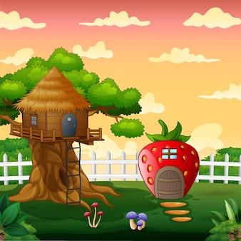Клубничный домик и домик на дереве в парковом пейзаже