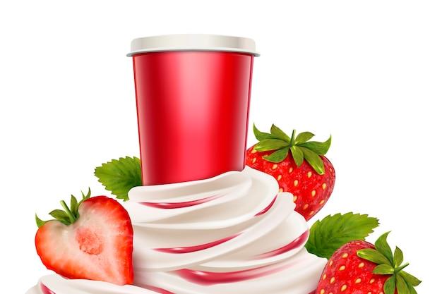 Клубничное мороженое и йогурт со свежими фруктами и контейнером