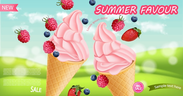 Strawberry ice cream cone background