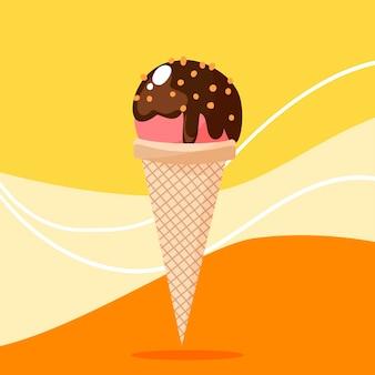 Клубничное мороженое в рожке, шоколадном соусе и орехах.