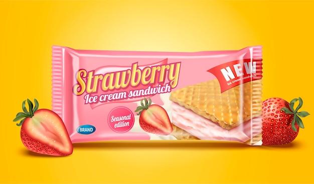 Strawberry ice cream sandwich package design