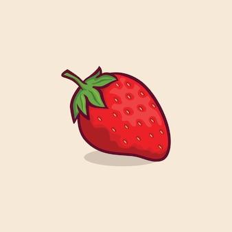 Клубника значок изолированные векторные иллюстрации с контуром мультфильм простой цвет