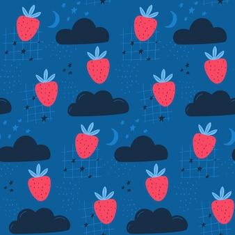하늘에 있는 딸기, 직물과 벽지를 위한 아이들의 귀여운 패턴. 구름, 달과 별과 원활한 배경입니다.