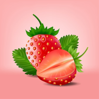 Strawberry isolated on pink background