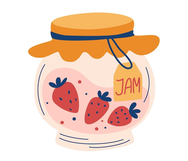 Strawberry jam in glass jar. doodle of home cooking. healthy sugar replacement. homemade berry jelly