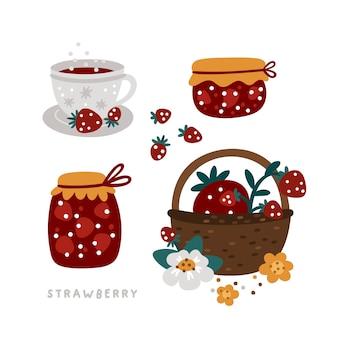 Strawberry jam in jar berries in a wicker basket sweet treat for a tea party