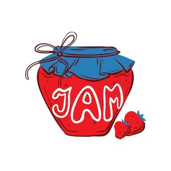 딸기 잼 항아리 스티커 패턴 디자인 및 기타 가을 디자인을 위한 손으로 그린 그림
