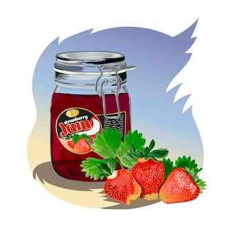 Strawberry jam in the jar