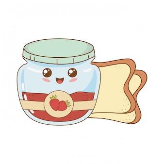 Strawberry jam pot and bread kawaii character