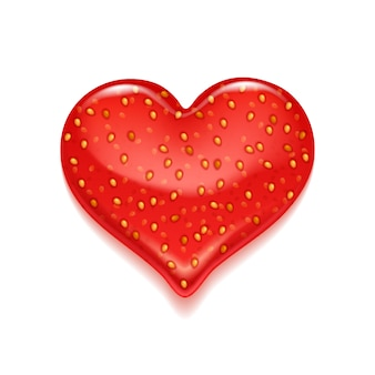 Всплеск варенья клубники - форма сердца.