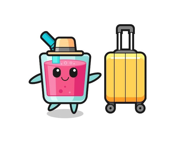 휴가에 수하물이 있는 딸기 주스 만화 삽화, 티셔츠, 스티커, 로고 요소를 위한 귀여운 스타일 디자인