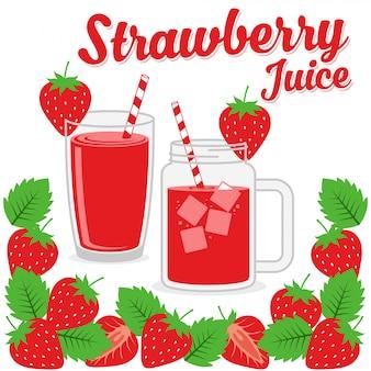 Strawberry juice design vector background illustration