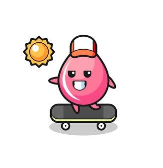 いちごジュースドロップキャラクターイラストスケートボードに乗る、tシャツ、ステッカー、ロゴ要素のかわいいスタイルのデザイン