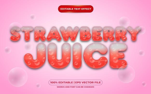 Редактируемый текстовый эффект клубничного сока жидкий стиль