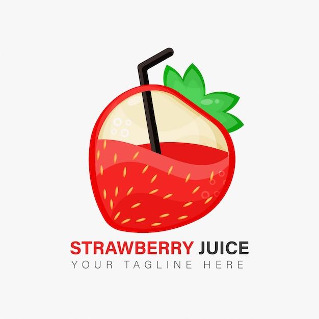 イチゴジュースのロゴデザイン