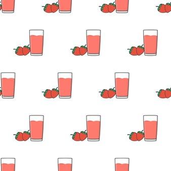 Клубничный сок бесшовные модели на белом фоне. клубника тема векторные иллюстрации
