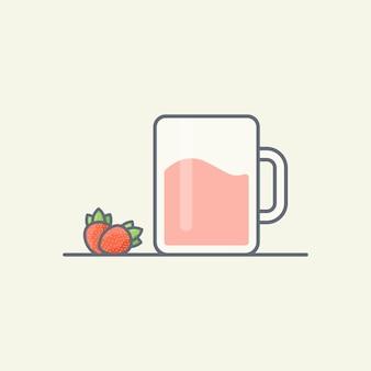 Strawberry juice vector illustration